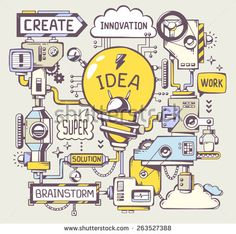 Vector illustration of successful model work of yellow light bulb with key word on a gray background. Line art hand draw design for web, site, advertising, banner, poster, board and print. - stock vector