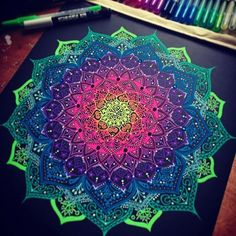 I need to do some with color. You are in the right place about Mandala Drawing coloring Here we offe Mandala Mural, Mandala Art Lesson, Mandala Artwork, Mandala Drawing, Mandala Painting, Mandala Design, Dibujos Zentangle Art, Zentangles, Gel Pen Art