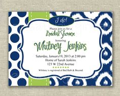 MODERN Bridal Shower Invitation Navy Kiwi green Ikat Dots Digital girlsatplay by girls at play Etsy. $12.00, via Etsy.