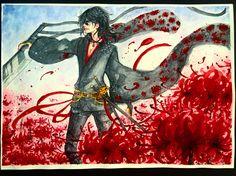 A Lone Reaper in the Lycoris Field #reaper #oc #black #lycoris #spiderlily #sword #lonely #noble #demon #red #flowers #flower #flowerfield #field