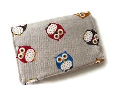 Business Card Holder Owls Thin Wallet Minimalist by DriSewing