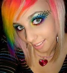 Rainbow hair & eye makeup with leopard spots.