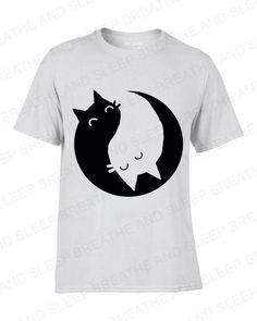 Yin Yang Kittens T-Shirt Cute Quirky Cat Kitten Chinese Yinyang White T
