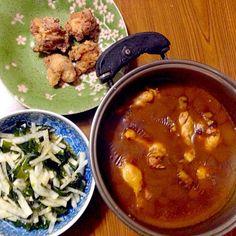 8月最後の夕食はカレーライス他 - 44件のもぐもぐ - チキンカレー・大根とわかめの酢の物・鶏唐揚げ by Tarou  Masayuki