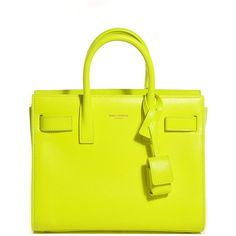 SAINT LAURENT Calfskin Nano Sac De Jour Neon Yellow ❤ liked on Polyvore featuring bags, handbags, neon yellow purse, yellow purse, mini handbags, yves saint laurent handbags and mini crossbody