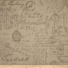 Antique Script Handwriting print fabric