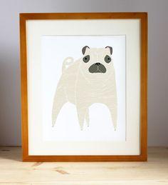 Illustrated Pug print by Gingiber; framed