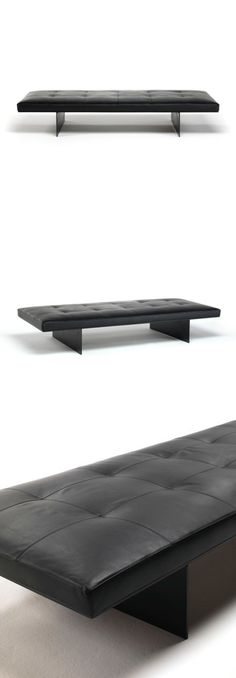 David Lopez Quincoces Track Bench - Supporting steel frame and base in aluminum, with black epoxy powder coating. End Of Bed Bench, Bench Stool, Bench Furniture, Ottoman Bench, Furniture Design, Long Chair, Soft Seating, Conceptual Design, Leather Ottoman