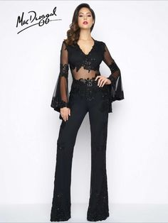 1999R   Mac Duggal  Black crepe, sequined lace, deep V-neck, open back, jumpsuit with semi sheer bodice and belle sleeves.