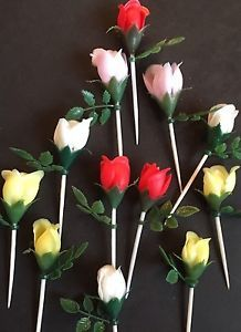 Lot of Vintage Rose Cupcake Picks Toppers White Red Yellow Pink Flowers  | eBay