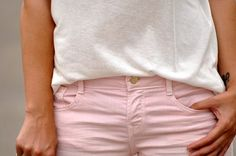 Pastel trousers and white tops in the spring/summer....
