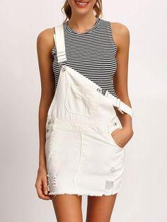 overall dress, frayed white denim dress, trendy white dress - Lyfie