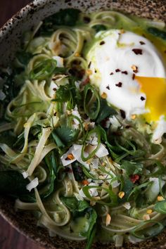 Green Curry Noodle Bowl with Poached Egg and Spinach | Naturally Ella