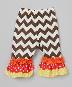 Take a look at this Brown & White Triple Ruffle Pants - Infant, Toddler & Girls by Dibble Dabble Dandy on #zulily today!