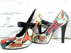 Spider-Man Comic Book Heels. Wedding Day. Birthday. For Her. Sexy Cool Pumps for Geeky Cool Girls. on Etsy, $95.00