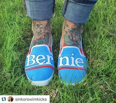 Show your colors any way you can but remember the most effective way to get Bernie in the White House is to #VOTE . #Michiganprimary #FeelTheBern @sinkorswimkicks . I've been keeping a lot of my political views to myself as of late but with the continuous rise of Trump I need to start voicing my opinion. Just my opinion and walking around with a pair of painted shoes doesn't mean much but when we join together with this incredible movement of Bernie Sanders supporters we can truly make a…