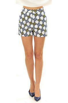 Kocca - Pantaloni - Abbigliamento - Shorts a vita alta in cotone con fantasia a pois e righe. Tasche laterali. - F7025 - € 72.00