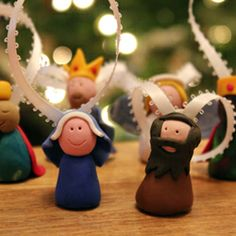 Polymer Clay Nativity Ornaments. Use Fimo to make a cute set of Nativity characters. Turn them into tree decorations.