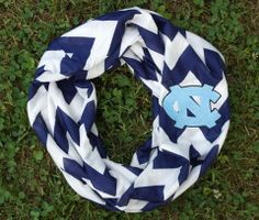 UNC Carolina Tar Heels Monogram Chevron Infinity Scarf, Tarheels Game Day Scarf on Etsy, $17.95