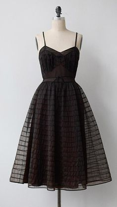 Vintage 1950s Slip Dress / Vintage 50s Sheer Black Dress / Ophelia Slip Dress