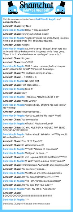 A conversation between Annabeth Chase and Dark!Nico Di Angelo