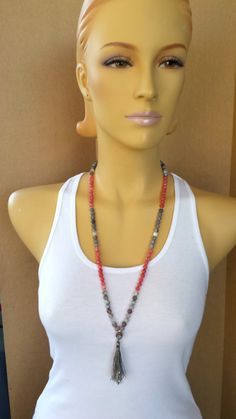 108 Mala Botswana Agate Strawberry Jade spiritual boho necklace handmade tassel boho bohemian grey silver pink gems Reiki infused gemstones - pinned by pin4etsy.com