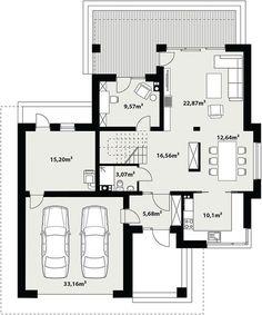 Projekt domu Korso 2 175,94 m² - koszt budowy - EXTRADOM Beautiful House Plans, Dream House Plans, House Floor Plans, Modern Family House, 2 Storey House Design, Architect House, Closet Designs, New Home Designs, Architecture Plan