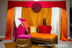 Mehndi. Indian Pre-Wedding Event. Bride's chaise for henna application  www.laxstates.com