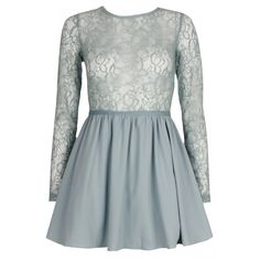 Pastel Blue Lace Sleeve Skater Dress ($37) ❤ liked on Polyvore