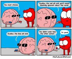 for more funny comics Akward Yeti, The Awkward Yeti, Cute Comics, Funny Comics, Heart And Brain Comic, Funny Cute, Hilarious, Avocado Cartoon, Bliss