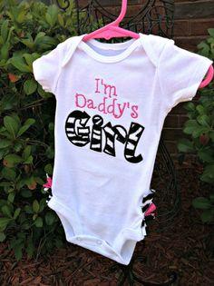 I'm Daddy's Girl Ruffled Bottom Zebra Print by BetterThanBows, $33.00