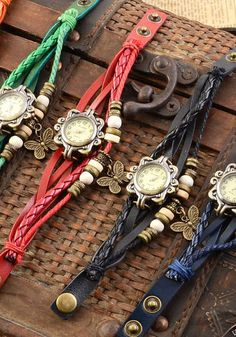 Vintage Ladies' Leather Bohemian Watch: Chainz Jewellery DMR: Love the red, green, blue, and brown ones!!!!