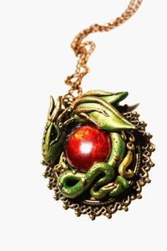 Ruby dragon - polymer clay pendant