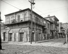 "New Orleans circa 1903. ""Old Absinthe House and Bourbon Street.""  8x10 inch dry plate glass negative, Detroit Publishing Company."