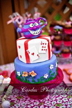 Alice in Wonderland theme birthday cake