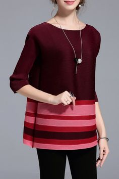 Kaning Burgundy Raglan Sleeve Striped Tee | Tees at DEZZAL Click on picture to purchase!