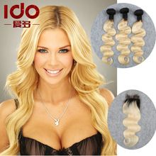 Ombre Brazilian Virgin Hair Body Wave 3 Bundles With Closure 100% Human Hair Weaving Two Tone 1b/613 Blonde Brazilian Hair