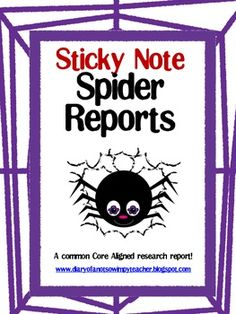 Sticky Note Spider Research Report . Great way to teach informational report writing.