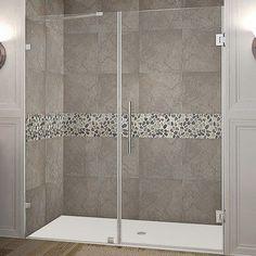 Aston Nautis GS x Hinged Completely Frameless Shower Door Trim Finish: Stainless Steel Frameless Shower Doors, Glass Shower Doors, Glass Doors, Shower Walls, Bathroom Doors, Shower Shelves, Shower Remodel, Shower Enclosure, Glass Shelves
