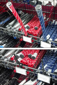 Don't just label your product at shelf edge, display it proudly. This Sample Item Erect at Shelf Edge includes a strut for display and selection of golf club handles and Endless Basket label holders to identify and price. Basket Labels, Golf Clubs, Hold On, Foundation, Shelf, Retail, Handle, Shelving