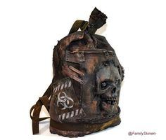 Leather backpack zombie biohazard , military bag, walking dead Post-Apocalyptic bag skull , Big backpack Mad Max zombi mask