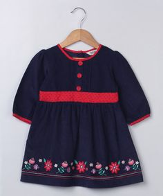 Look what I found on #zulily! Navy Floral Embroidered Corduroy Dress - Infant & Toddler #zulilyfinds