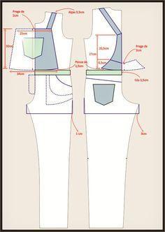 ROBERTTO DIAS: MOLDE DE UMA JARDINEIRA CURTA PARA USAR NO VERÃO Jumpsuit Pattern, Pants Pattern, Skirt Patterns Sewing, Clothing Patterns, Sewing Clothes, Diy Clothes, Iranian Women Fashion, Diy Shorts, How To Wear Scarves