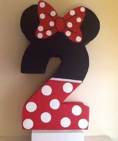 Minnie mouse Pinata. Inspired. Number Piñata. Minnie Mouse Red Birthday. Minnie Party decoration. 1st birthday Minnie Mouse themed.