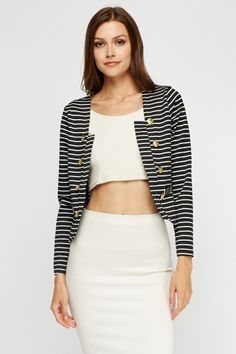 Button Detail Cropped Blazer - Black or White - Just £5