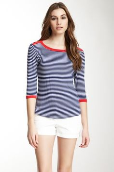 Stripe Boatneck Top with Contrast Detail