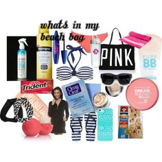 """""""what's in my beach bag"""" by styleiseverything14 on Polyvore"""
