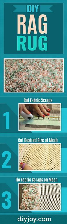 DIY Rag Rug - Easy No Sew Rag Rug Made From Old Fabric Or Tshirts - Cheap and Creative Home Decor on A Budget - DIY Projects and Crafts for Women