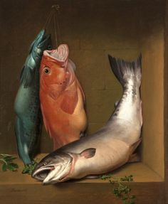Samuel Marsden Brooks (1816-1892) -  Still life with ling cod, red vermillion and salmon, oil on canvas, 73,7 x 61 cm. 1867.
