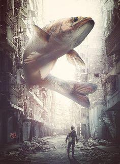"""Catching the Big Fish"" Artist Name: Karaska Surreal Photos, Surreal Art, Photomontage, Surrealism Photography, Art Photography, Giant Animals, Open Art, Arte Horror, Matte Painting"